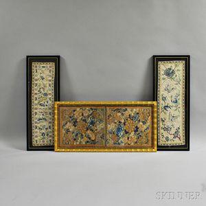Three Framed Silk Embroideries