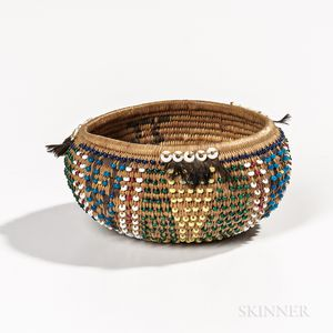 Miniature Feathered and Beaded Pomo Basket