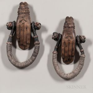 Pair of Intricately Carved Sea Chest Beckets