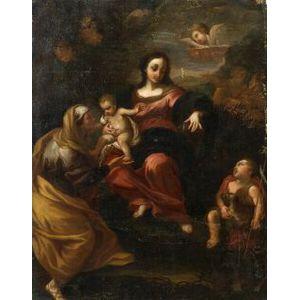 Manner of Raphael Urbinas (Italian, 1483-1520)  Madonna and Child with Saints Elizabeth and John the Baptist