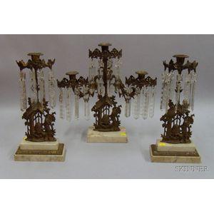 Three-piece Gilt Brass, Marble, and Glass Girandole Set