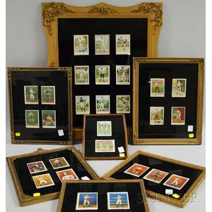 Framed Collection of Mostly Mecca Cigarette Boxing Cards