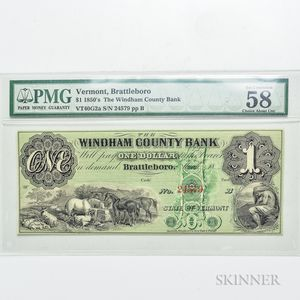 1850s $1 Windham County Bank, Brattleboro, PMG Choice About Uncirculated 58 EPQ.     Estimate $40-60
