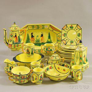 Twenty-seven Piece HB Quimper Faience Partial Dinner Set