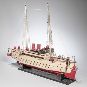 Carved and Painted Folk Art Sailing Steamship Model