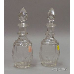 Two Pittsburgh Colorless Cut Glass Decanters with Stoppers