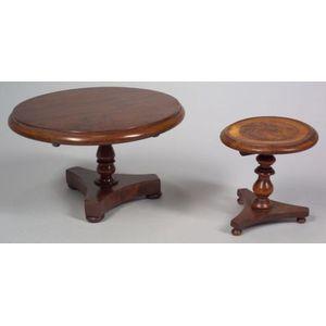 Two Miniature Tilt-top Pedestal Tables