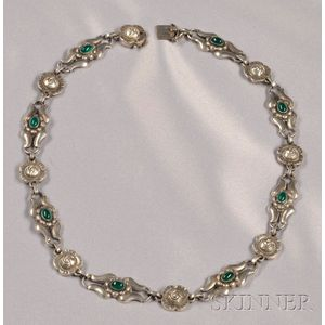 Sterling Silver and Green Onyx Necklace, Georg Jensen