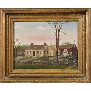 American School, Early 20th Century      Portrait of an Auburn, Maine, Cape Cod -style House and Barn.