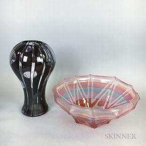 Two Modern Art Glass Sculptures