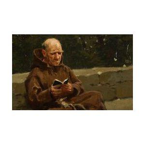 Henry Francois Farny (American, 1847-1916)  A Monk Reading
