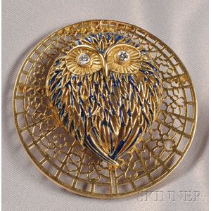 18kt Gold, Enamel, and Diamond Owl Pendant/Brooch