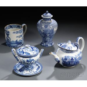Four Wedgwood Blue Transfer-printed Pearlware Items