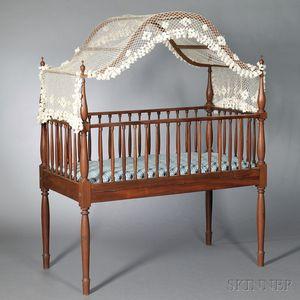 Classical Mahogany and Walnut Crib
