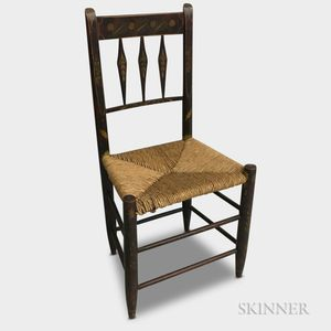 Country Paint-decorated Rush-seat Side Chair