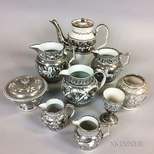 Nine Silver Resist Lustre Ceramic Tableware Items