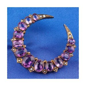 Antique Amethyst and Seed Pearl Crescent Brooch