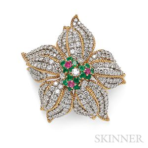 18kt Gold, Diamond, and Gem-set Flower Brooch