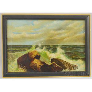 George Howell Gay (American, 1858-1931)      Crashing Waves.