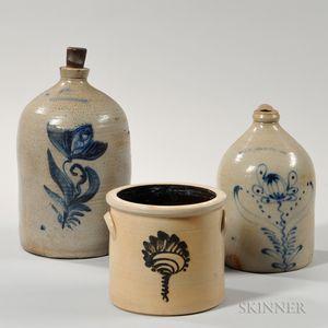 Three Cobalt-decorated Stoneware Items