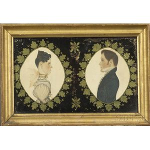 Attributed to Rufus Porter (American, 1792-1884)    Pair of Miniature Portraits of Charles Sherwin and His Wife Hanna.