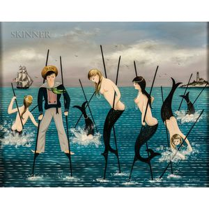 Ralph Eugene Cahoon Jr. (American, 1910-1982)      Sailor and Mermaids on Stilts