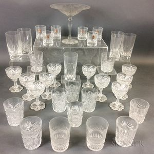 Thirty-five Pieces of Colorless Glass Tableware