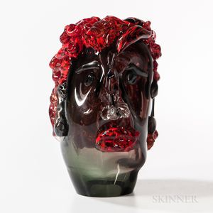 Man with Red Hair   Art Glass Sculpture Attributed to Evan Binkley