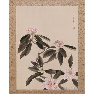 Hanging Scroll Depicting Clusters of Pink Flowers on Vining Branches