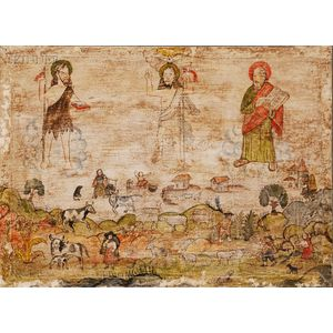 Cuzco School, 18th/19th Century      Provincial Scene with Jesus, St. John the Baptist and Moses