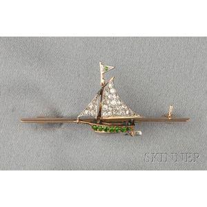 Edwardian Diamond and Demantoid Garnet Sailboat Brooch