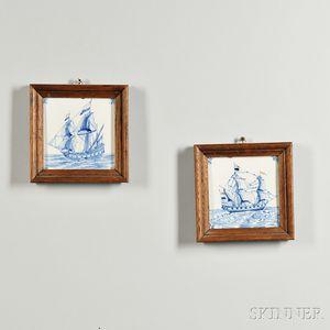 Two Delft Ship Tiles