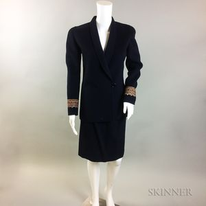 Oscar de la Renta Navy Wool Suit