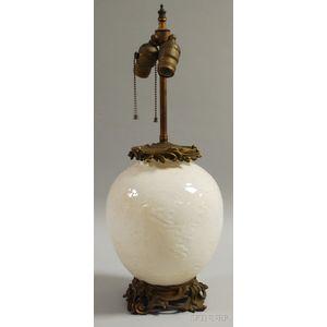 Gilt-ormolu-mounted Chinese Blanc de Chine Vase/Table Lamp