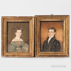 Attributed to Caroline Negus (Petersham, Massachusetts, act. 1830s)      Pair of Miniature Portraits of a Man and Woman