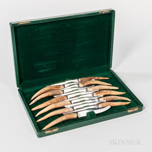 Cased Set of Antler-handled Steak Knives