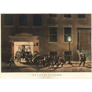 """Nathaniel Currier, publisher (American, 1813-1888)  THE LIFE OF A FIREMAN:  The Night Alarm.- """"Start her lively boys."""""""
