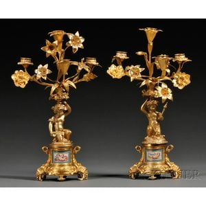 Pair of Sevres-style Porcelain Mounted Dore Bronze Candelabra