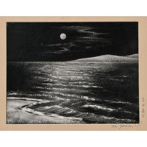 Woodblock Print Depicting a Moonlit Seascape