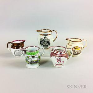 Five Staffordshire Pink Lustre Commemorative Ceramic Items
