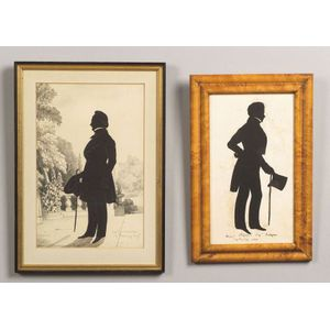 French/American and American School, 19th Century  Two Silhouette Portraits of Gentlemen.