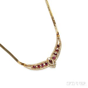 18kt Gold, Ruby, and Diamond Necklace