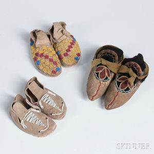 Three Pairs of Miniature Beaded Hide Moccasins