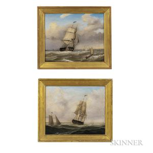 Fitz Henry Lane (Massachusetts, 1804-1865)      Pair of Pendant Portraits of a Pilot Boat Alongside a Large Frigate