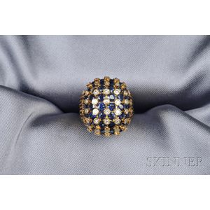 18kt Gold, Sapphire, and Diamond Dome Ring