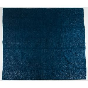 Blue Calamanco Quilted Coverlet