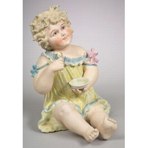 "Very Large Seated Girl ""Piano Baby"" Figurine"