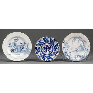 Two Delftware Plates and a Blue and White Tin-glazed Pottery Plate
