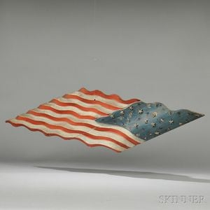 Polychrome Decorated Carved Pine American Flag