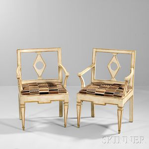 Pair of Neoclassical Italian Painted and Parcel-giltwood Fauteuils